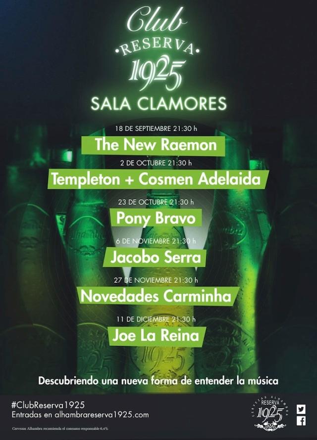Cartel de la programación del Club en la sala Clamores.